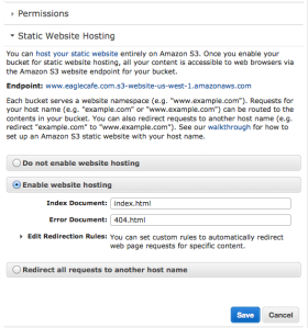 how to create a website using amazon s3